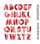 retro font in pink. alphabet... | Shutterstock .eps vector #390206926