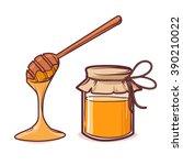 honey bank  apiary  honey ... | Shutterstock .eps vector #390210022