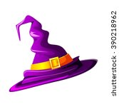 purple witches hat. vector... | Shutterstock .eps vector #390218962