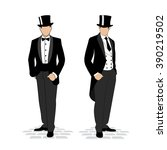 drawing men in smokinge... | Shutterstock .eps vector #390219502