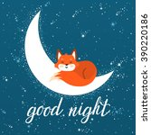 vector night card with cute fox ... | Shutterstock .eps vector #390220186