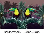 toucans  geometric polygon... | Shutterstock .eps vector #390236506
