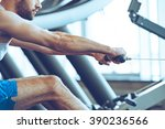 row and pull. side view close... | Shutterstock . vector #390236566