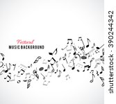 abstract musical frame and... | Shutterstock .eps vector #390244342
