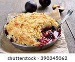 Plum Crumb Baking In Pan On...