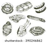 vector meat sketch drawing....   Shutterstock .eps vector #390246862