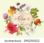 Herbal Tea Vintage Banner With...