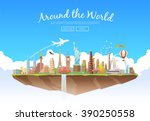 travel to world. road trip.... | Shutterstock .eps vector #390250558