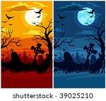 terrible halloween cemetery... | Shutterstock .eps vector #39025210