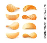 vector  set of  potato ripple... | Shutterstock .eps vector #390262378
