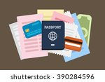 flat lay travel vector... | Shutterstock .eps vector #390284596