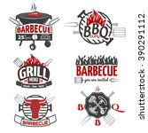 set of bbq labels and design...   Shutterstock .eps vector #390291112