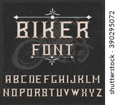 biker handcrafted font with... | Shutterstock .eps vector #390295072