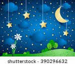 surreal background with moon ...   Shutterstock .eps vector #390296632