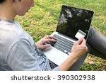 close up of yong man making... | Shutterstock . vector #390302938