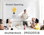 grand opening light bulb icon... | Shutterstock . vector #390320518