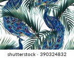 peacock  tropical palm leaves ... | Shutterstock .eps vector #390324832
