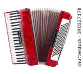 Old red accordion isolated on a ...