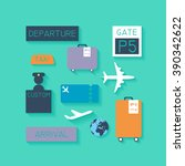 airport vector icons.   | Shutterstock .eps vector #390342622