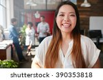 portrait of cheerful young... | Shutterstock . vector #390353818