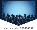 hand drawn cinema screen with... | Shutterstock .eps vector #390354052