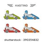 modern outline go kart symbol.... | Shutterstock .eps vector #390354832