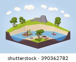 travel down the river on a raft ... | Shutterstock .eps vector #390362782