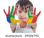 kid painting and playing with... | Shutterstock . vector #39036793