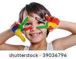 kid painting and playing with... | Shutterstock . vector #39036796