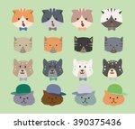 pattern cats green background.... | Shutterstock .eps vector #390375436