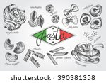 different types of authentic... | Shutterstock .eps vector #390381358