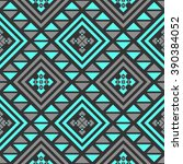 Boho seamless pattern with tribal aztec ornament. Abstract vector wallpaper in ethno syle. | Shutterstock vector #390384052