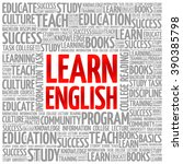 learn english word cloud ... | Shutterstock .eps vector #390385798