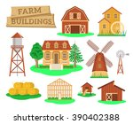 farm buildings and... | Shutterstock .eps vector #390402388