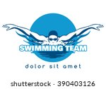 swimming logo. swimmer icon... | Shutterstock .eps vector #390403126