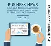 business news on tablet....   Shutterstock .eps vector #390408415