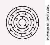 circular maze puzzle on white | Shutterstock .eps vector #390411352