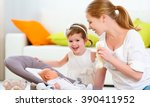 happy family. mother and... | Shutterstock . vector #390411952