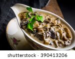 Mushroom Sauce With Parsley In...