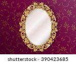 gold ornate vintage mirror  ...   Shutterstock .eps vector #390423685