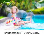 adorable little girl with curly ... | Shutterstock . vector #390429382