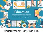 studying group of students at... | Shutterstock .eps vector #390435448
