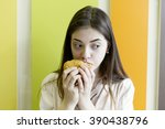 girl and fast food | Shutterstock . vector #390438796