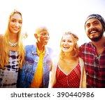 friendship bonding relaxation... | Shutterstock . vector #390440986