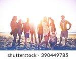 diverse beach summer friends... | Shutterstock . vector #390449785