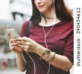 Woman Listening Music Media...