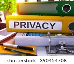 privacy   yellow ring binder on ... | Shutterstock . vector #390454708