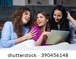 three happy smiling female... | Shutterstock . vector #390456148