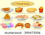 collection of delicious french... | Shutterstock .eps vector #390473506