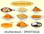 collection of delicious saudi... | Shutterstock .eps vector #390473626